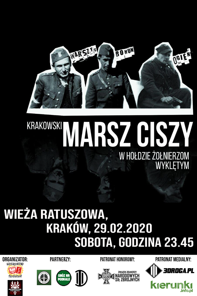 Plakat Żołnierze Wyklęci, Plakat wydarzenia Marsz Ciszy w hołdzie Żołnierzom Wyklętym, plakat krakowskich obchodów